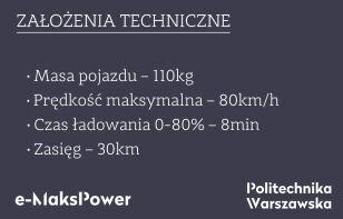 Parametry bolidu zespół e-Maks Power / Politechnika Warszawska