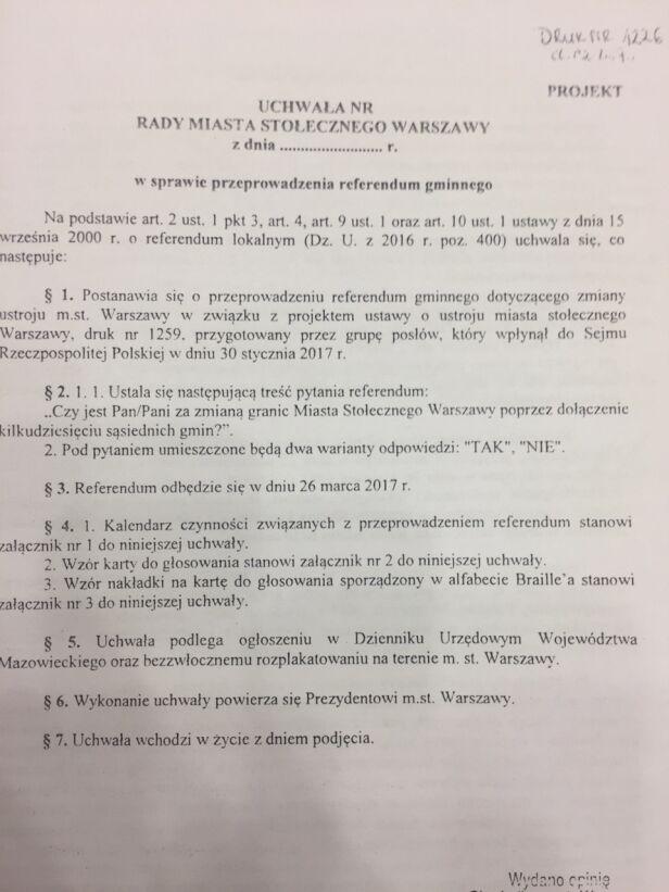 Projekt uchwały w sprawie referendum Urząd Miasta