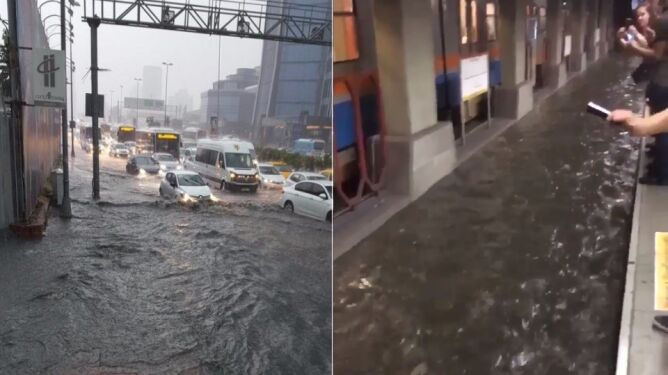 Rzeka wody płynie w metrze
