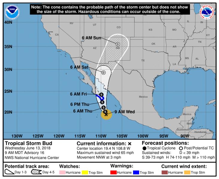 Trasa przemieszczania się burzy tropikalnej Bud (NHC NOAA)