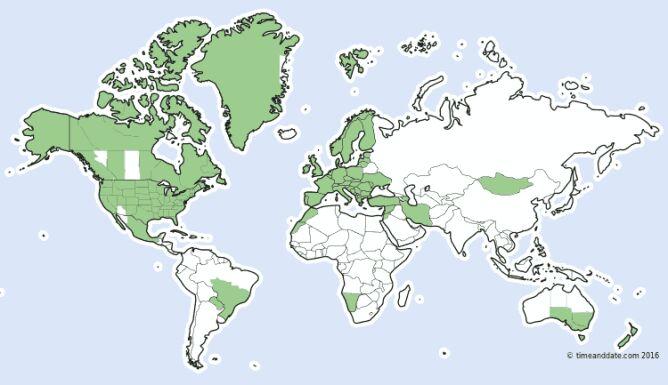 Kraje (lub ich części), w których zmienia się czas na letni