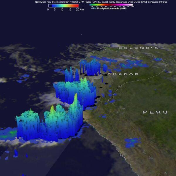 Strefa opadów deszczu w Peru 20 marca 2017 roku