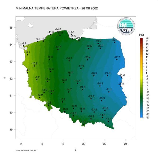 Minimalna temperatura powietrza 26 grudnia 2002 roku (IMGW)