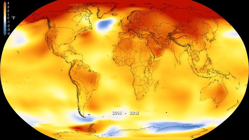 Odchylenia od średniej temperatury na świecie (NASA's Goddard Space Flight Center)