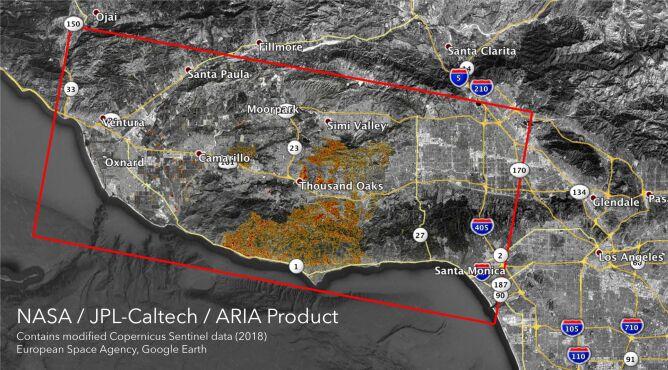 Obszar zniszczeń w Kaliforni w pożarach Woolsey i Camp Fire (NASA/JPL-Caltech/ESA)